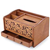 Flyzzz Creative Multi-fuctional Tissure Box, Wooden Pumping Cartain with Double Drawers for Living Room, Office and Coffee Table,etc (C)