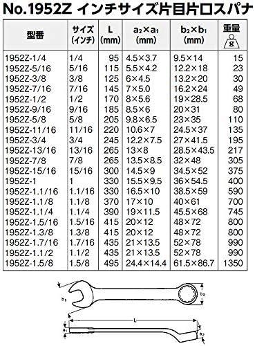 BAHCO(バーコ) Combination Spanner 片目片口スパナ インチ 1952Z-1/2