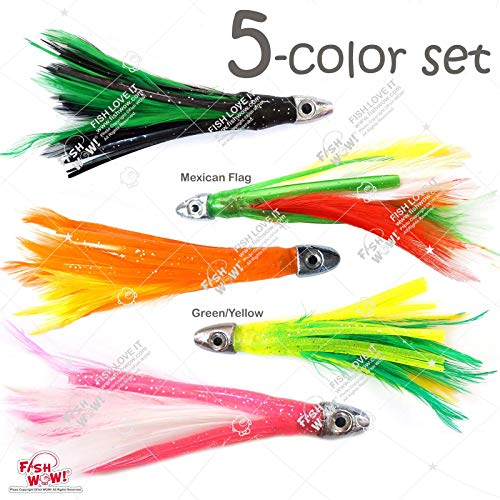"Fish WOW! 5pcs 4"" Mini Feather 1/2oz Bullet Chrome Head Trolling Tuna Lure Squid Skirts - 5 Colors Set"