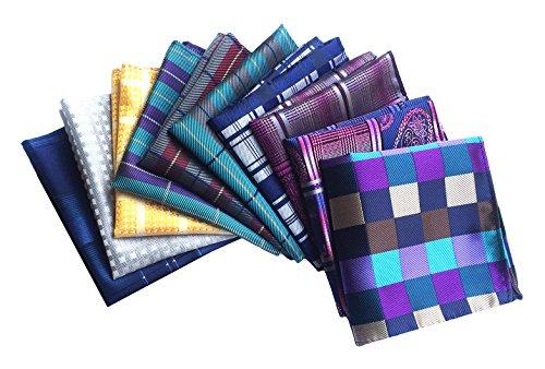 MENDENG Mens 10 Pack Assorted Cotton Polka Dots Pocket Square Handkerchief Hanky ()