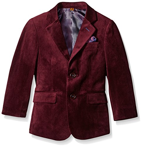 Isaac Mizrahi Boys' Little Boys' Single-Breasted Velvet Blazer, Burgundy, 3