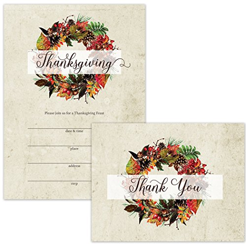 Thanksgiving Feast Invitations (25) & Thank You Cards (25) Matching Set with Envelopes Classic Fall Wreath Design Fill-in Thanksgiving Dinner Invites & Folded Thank You Notes Excellent Value Pair