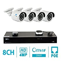 GW 8 Channel H.265 NVR 4-Megapixel (2592 x 1520) Security Camera System, 4pcs 4MP 1520p 3.6mm Wide Angle POE Outdoor Bullet IP Cameras, 80ft Night Vision