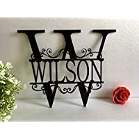 Split Wall Monogram Initial Any Letter Name Wreath Personalized Last Name Family Sign Acrylic Laser Cut Signs Outdoor Use Custom House Garden Front Door Wedding Gift Hanger Housewarming Hanging Decor