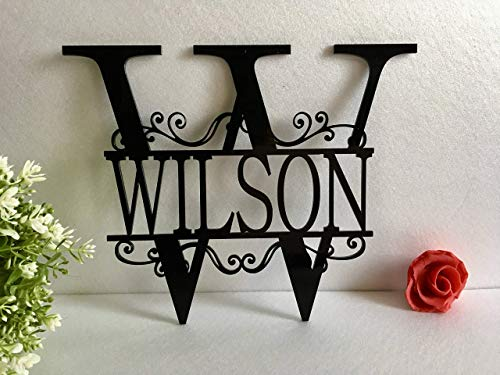 - Split Wall Monogram Initial Any Letter Name Wreath Personalized Last Name Family Sign Acrylic Laser Cut Sign Outdoor Metal Custom House Garden Front Door Wedding Gift Hanger Housewarming Hanging Decor