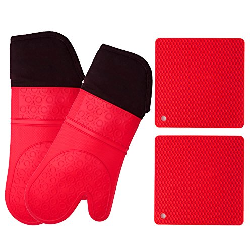 Silicone Oven Mitts and Potholders (4-Piece Set) Heavy Duty Cooking Gloves, Kitchen Counter Safe Trivet Mats | Advanced Heat Resistance, Non-Slip Textured Grip (Pot Holder&Oven Mitts, Red) (Times Square Mit Kindern)