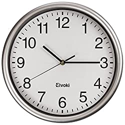 Elvoki Best Wall Clock, 12.5 Inch Quartz with Arabic Numerals – Office, Classroom Clock Silver