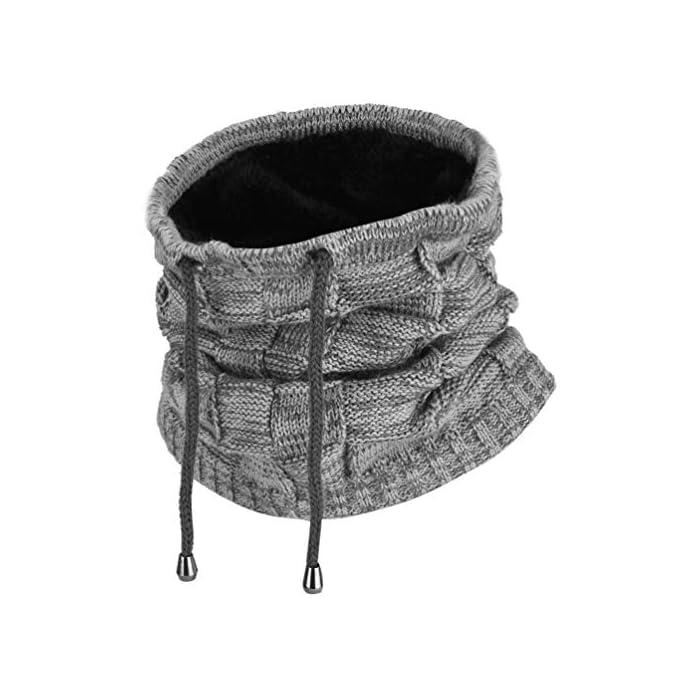 51gvmGzcSpL Excelente función de mantenimiento del calor: esta cálida polaina para el cuello es perfecta para climas fríos, diseño de doble capa con fibras acrílicas de alta calidad y forro polar, agradable al tacto, ultrasuave y cómoda de llevar, y cuenta con una mejor retención de calor para mantener el calor. Diseño versátil: el gorro de punto puede servir no solo como sombrero, sino también como calentador de cuello, diadema y bufanda. La apertura única hace que sea ideal para coleta. Fibras acrílicas y felpa corta