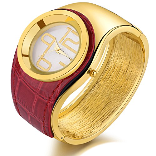 Women Fashion Watches Ladies Gold Automatic Watch Girl's Red Leather Bracelet (Automatic Leather Ladies Watch)