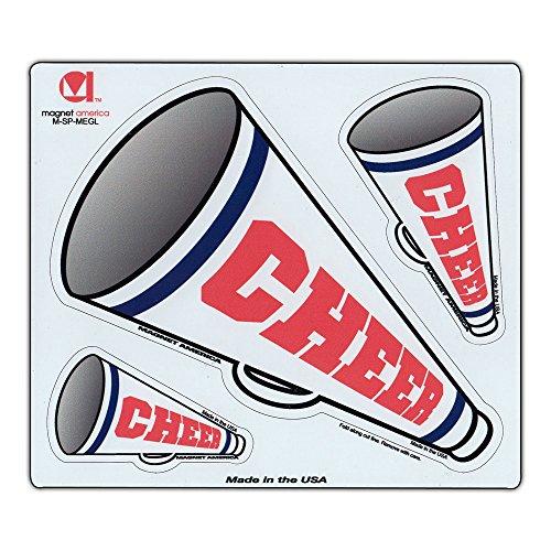"""Magnetic Bumper Sticker - Cheer (Cheerleaders, Cheer Leaders, Megaphones) - 3 Magnets - 2.5"""" to 6"""" (Each)"""