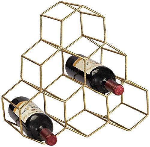Elk Angular Study Hexagonal Wine Rack, Gold