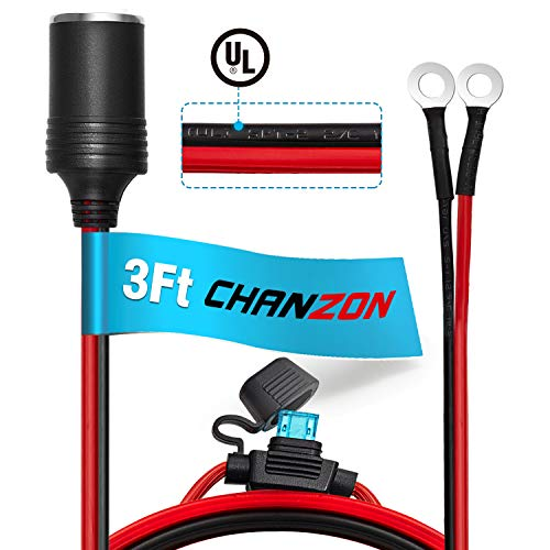 ([UL Wire]Chanzon Female Cigarette Lighter Outlet 3Ft + Eyelet Terminal Plug Power Supply Cord 12V 16AWG Heavy Duty Cable Accessory 15A Fused DC Power 12 24 Volt Socket for Car Tire Inflator Air Pump)