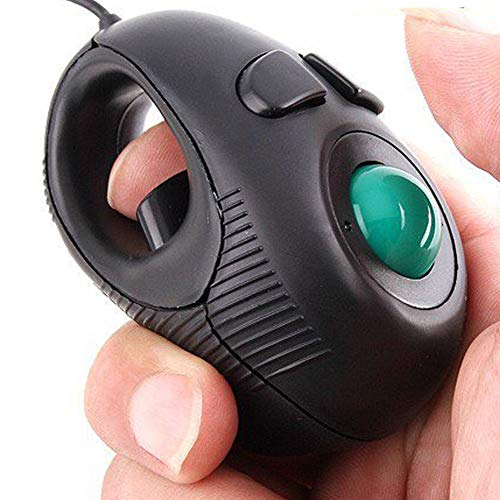 Ergonomic Handheld Trackball Mouse Wired Mini USB Portable Finger Travel Computer Right Left Handed Mice for PC Laptop Mac Window OS Linux Unix