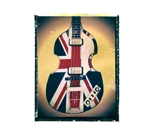 Union Jack Bass Guitar art music print / Guy Gift / Rock n roll art / music gift idea