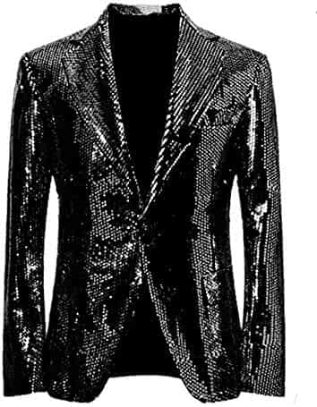 3f72b574560d Suxiaoxi Men's Splendid Nightclub Sequins Blazer Jacket Lapel Tuxedo Suits  Jacket