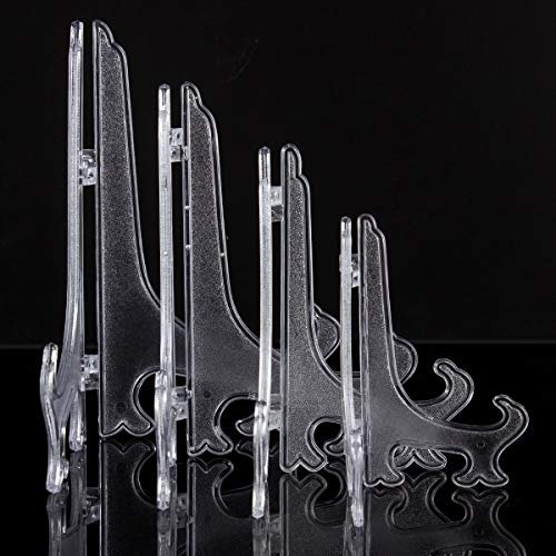 ANPHSIN 16 Pieces Plastic Little Easels Stand Holders to Display Plate Picture 5 Inch/ 6 Inch/ 7 Inch/ 8 Inch- Clear