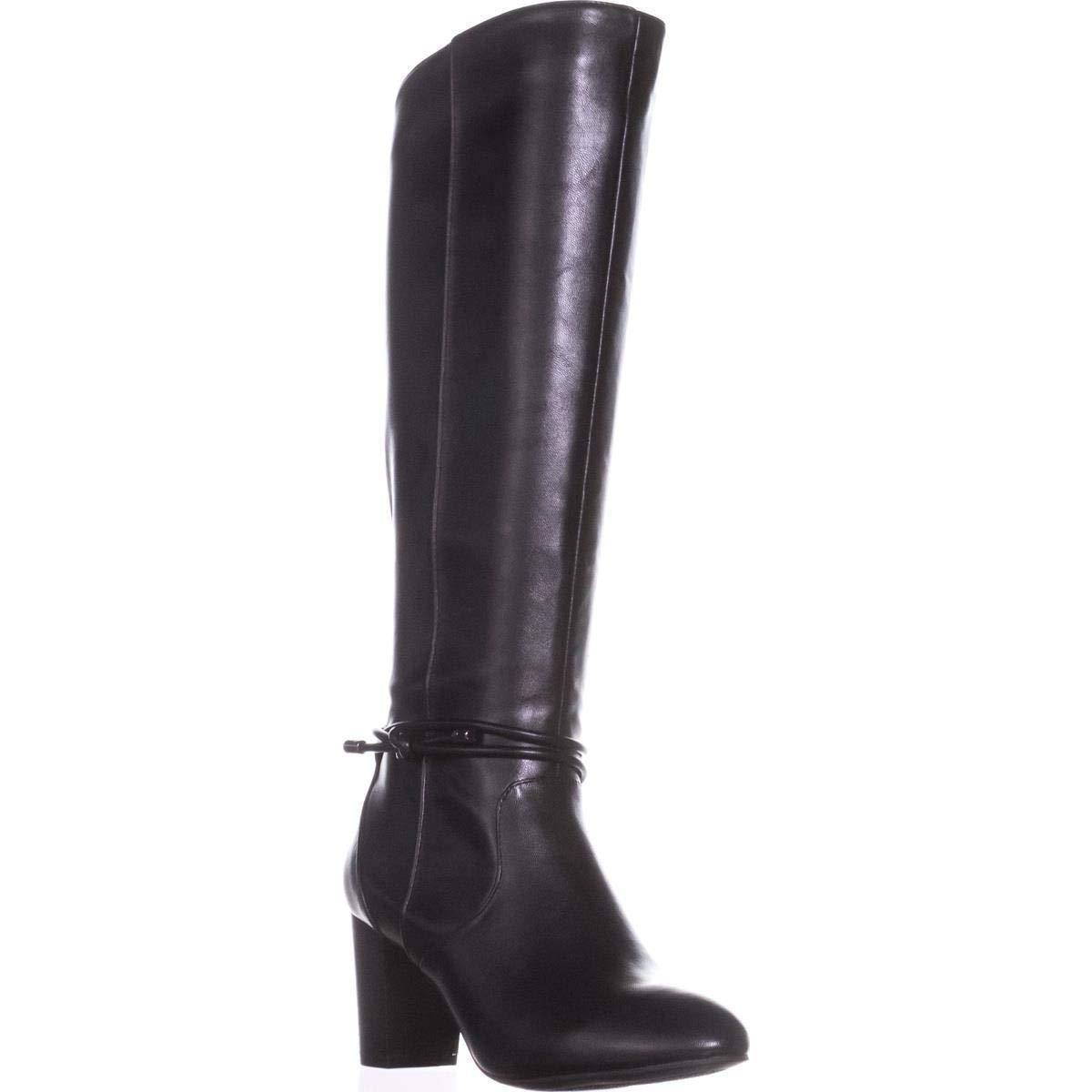 Black Alfani Womens Giliann Wide Calf Faux Leather Dress Boots