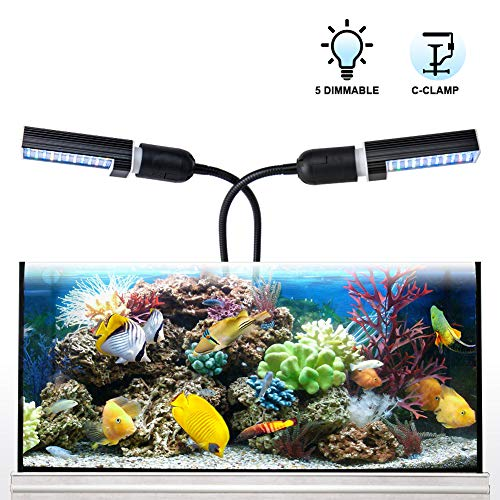 Relassy Led Aquarium Light, Led Reef Coral Light with Dual Replaceable E27 Bulb, Adjustable Clip On Seawater Aquarium…