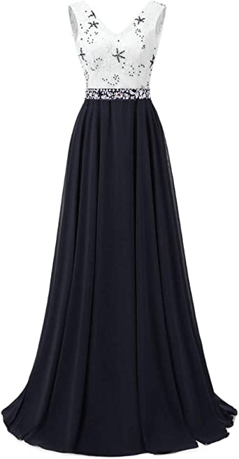 Dannifore V-Neck Open Back A-Line Chiffon Long Prom Evening Dress with Appliques