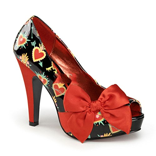 Pinup Couture Bettie-13 Sexy Retro High Heels Plateau Peeptoe Pumps mit Motiv-Print 35-42