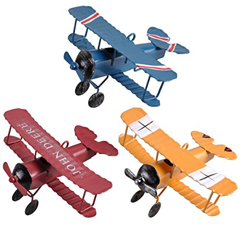 Berry President Mini Decorative Handicraft Metal Vintage Retro Classical Biplane Iron Aircraft Model Statue Sculpture Decor Souvenir Christmas Tree Decoration, 3-Pack