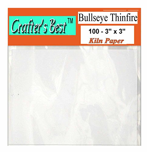 "Bullseye Thinfire Kiln Shelf Paper 3"" X 3"" - 100 Pack, Great for Microwave Kiln"