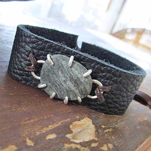 Mens Black Leather Cuff Bracelet with Sterling Silver and Beach Stone 4 - Diana Anton Jewelry Design (Matte Pebble Beach)