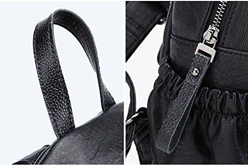 les Vintage chaud noir GSHGA femmes à dos sac cuir sac à Grey pour ville sac Grand chaud décontracté à en quotidien dos dos Moyen 667OnZ
