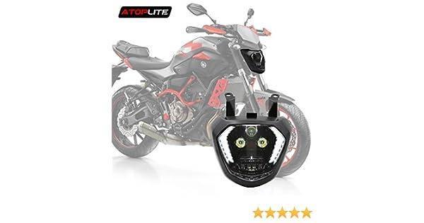 Atoplite Original Designed LED Headlight Fit for Motocycle YAMAHA FZ07//MT07 With DRL White/&Turn signal Amber Halo