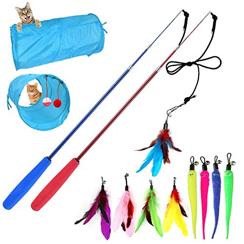 M JJYPET Retractable Cat Wand Toys,Cat Feather Toy,9 Assorted Teaser Refills,Interactive Feather Teaser Wand Toy with Bell for Cat,Kitty,Kitten