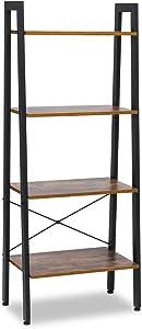 KINGSO Industrial Ladder Shelf 4-Tier Shelves Vintage Rustic Storage Rack Shelves, Wood Look Accent Furniture, Metal Frame for Living Room Study Lounge Bedroom Office