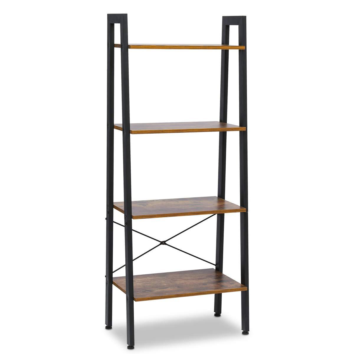 KingSo Industrial Ladder Shelf 4-Tier Shelves Vintage Rustic Storage Rack Shelves with Wood Look and Metal Frame Furniture for Living Room Study Lounge Bedroom Office by KingSo