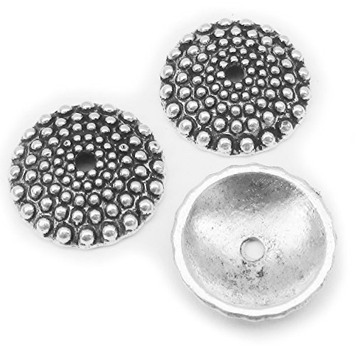 Heather's cf 54 Pieces Silver Tone Flat Bumps Beads Caps Findings Fit 18-20mm Round Beads Jewelry Making 15X3mm