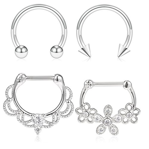 SCERRING 4PCS 16G Vintage Flower Stainless Steel Clear CZ Septum Hoop Nose Ring Horseshoe Rings Cartilage Daith Tragus Clicker Retainer Body Piercing Jewelry - Silver (Flower Septum Ring)