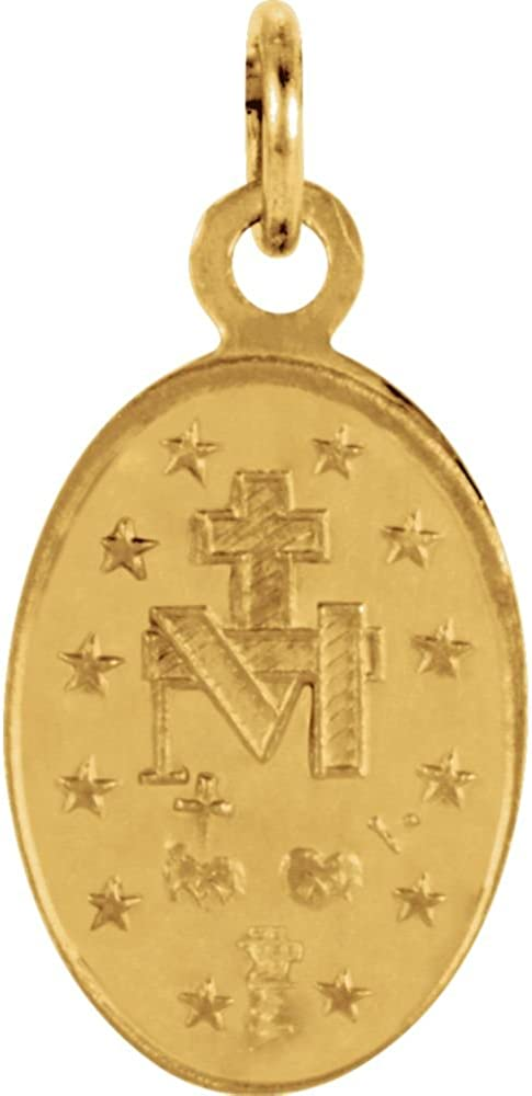 14K Yellow 12x8mm Oval Miraculous Medal