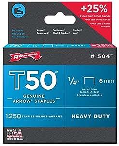 Arrow T50–Grapas Manual 1/4Grapas T50(Pack de 6) Tamaño: 6-Pack, Modelo: T 50, Tools & hardware Store