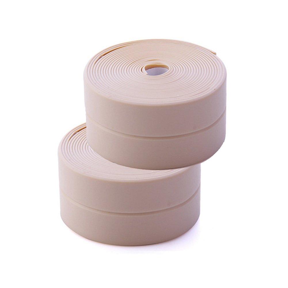 BERTERI Kitchen Sink Caulk Tape, 2 Rolls Bathroom Waterproof and Anti-mould Self-Adhesive Decorative Tub and Wall Sealing Tape (Pink)