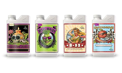 Advanced Nutrients Voodoo Juice, Big Bud, B-52, Overdrive Plant Fertilizer Booster Enhancer Hobbyist Bundle, 250ml/8.4 oz (Nutrients Advanced Soil)