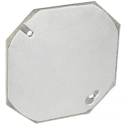 Exposed Blank (1 Pc, 4 In. Flat Blank Gasketed Octagon Cover, Zinc Plated Steel to Cover Or Terminate Exposed Electrical Wire)