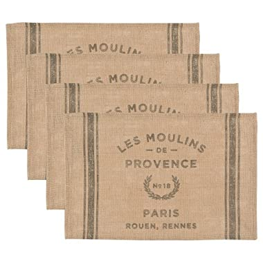 Now Designs Burlap Placemats, Les Moulins Print, Set of 4