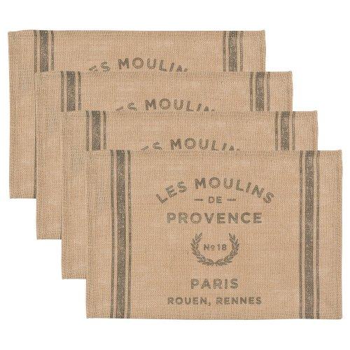 Print Placemat Set (Now Designs Burlap Placemats, Les Moulins Print, Set of)