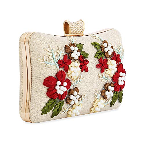(Womens Evening Clutch Bag Designer Evening Handbag,Lady Party Clutch Purse, Great Gift Choice (Gold-Embroidery square))