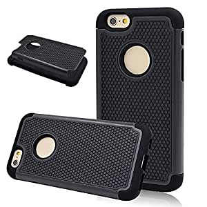 Seedan Dual Layer Skidproof Case for iPhone 6 (4.7 inch) - Black PC & TPU Heavy Duty Shock Absorbing Hybrid Combo Protective Cover Skin