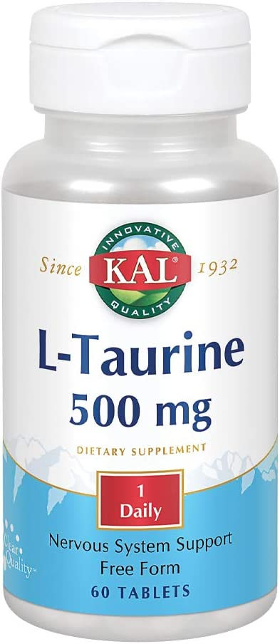 KAL L-Taurine 500mg | Healthy Nervous System, Cardiovascular, Visual & Detox Function Support | 60 Tablets