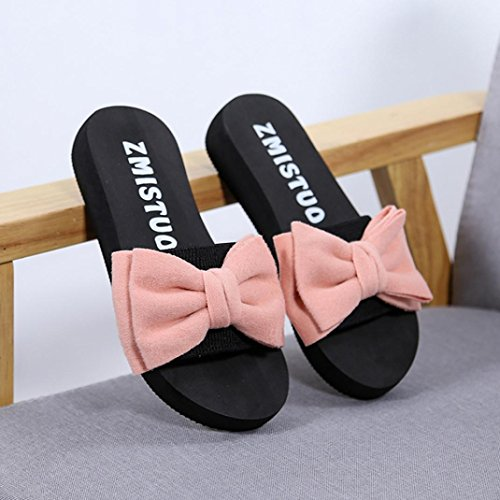 Hatop Slipper For Women, Summer Bow Sandals Slipper Indoor Outdoor Flip-Flops Beach Shoes Pink