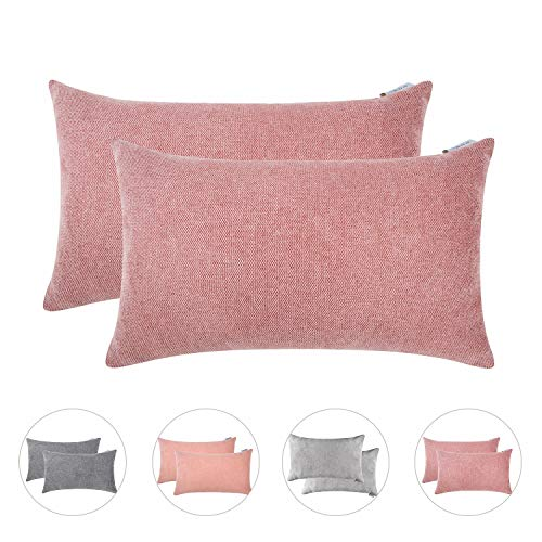 Hahadidi Cozy Decorative Throw Pillow Cover Farmhouse Rectangle/Oblong Pillowcase Luxury Chenille Cushion Case Covers for Car/Bed/Sofa/Couch,Pink,Pack of 2,14x24