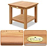 BenefitUSA Teak Wood Furniture End Table, 2-Tier Side Table with Shelf - 19.7 Square Size