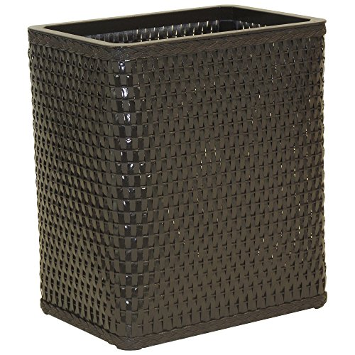 Redmon S426ESP Chelsea Collection Decorator Color Square Wicker Wastebasket, Espresso