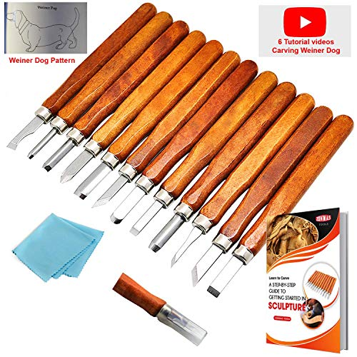 ZONMAS Premium Wood Carving Tools Set [Upgraded Version] Perfect for Pumpkin, Soap, Vegetables, Rubber, Whittling Kit for Kids & Beginners, 12 Sculpting Tools w/Protective Covers, Bonus Wipe & eBook