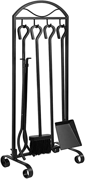 Amagabeli 5 Pieces Fireplace Tools Indoor Outdoor Large Wrought Iron Firewood Toolset with Decor Holder Black Fireset Pit Stand Fire Place Log Tongs Tools Kit Sets with Handles Wood Stove Accessories